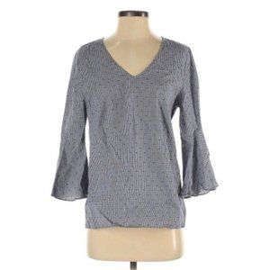 Jane and Delancey Blue Bell Sleeve Top M